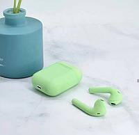 Беспроводные Bluetooth  сенсорные наушники i12 зеленые (мята) с кнопкой