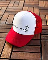 Кепка-тракер Zara man мужская с сеткой | White-Red, фото 1