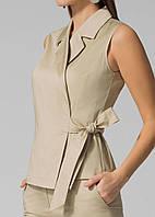 Оригинальный летний женский жилет-блуза ЛЮКС-качество из коттона бежевый на запах офисный деловой легкий
