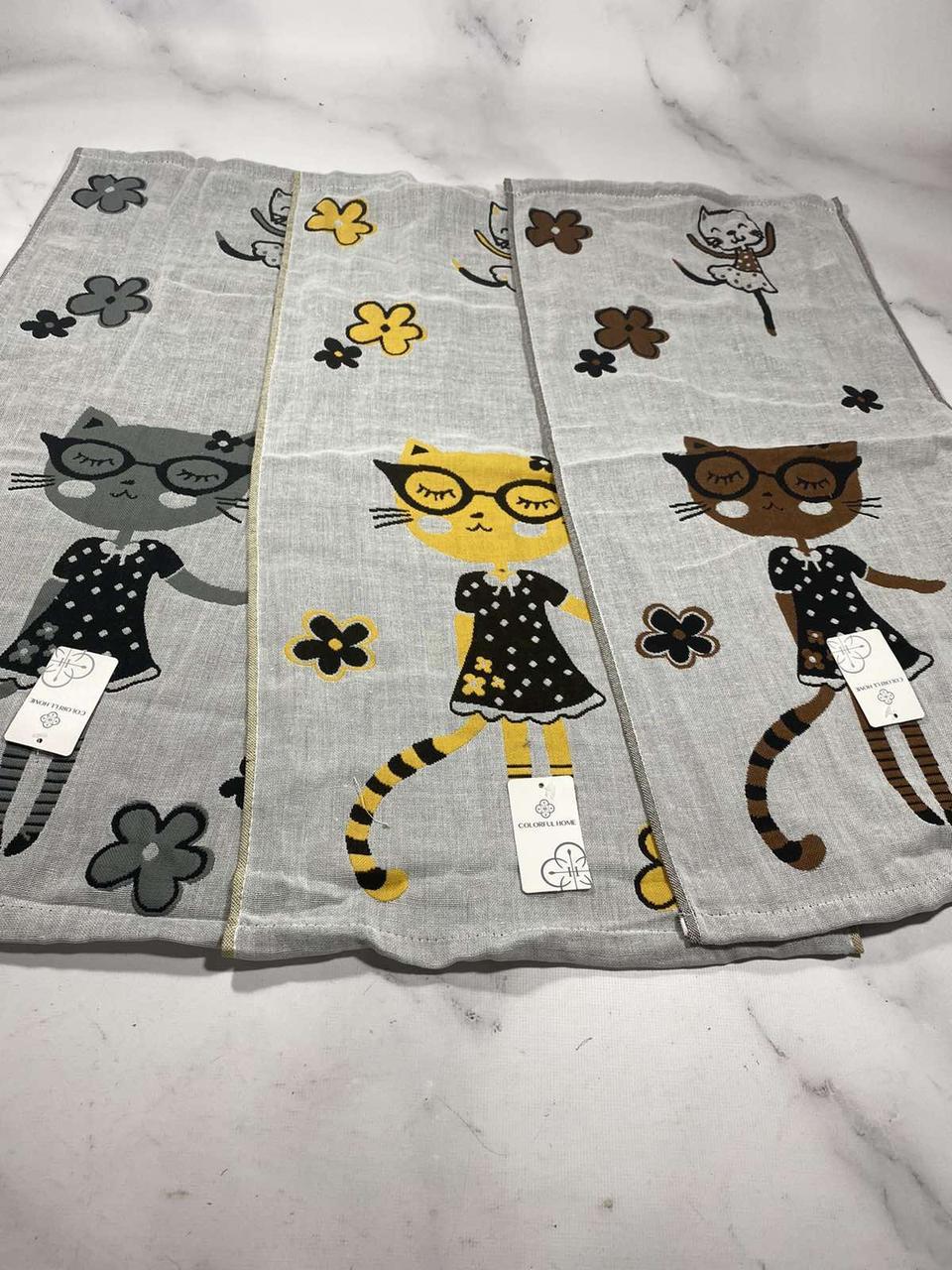 Полотенце кухонное лен Р.р 35*70 см (кот в очках)
