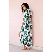 Накидка пляжная длинная белая с листьями Пляжный длинный коттоновый халат с поясом бохо-кимоно 146-48