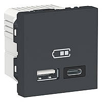 Розетка USB двойная А+С антрацит New Unica