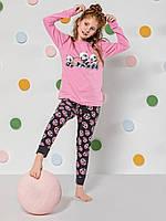 """Пижама для девочки на весну-осень с длинным рукавом """"Панда"""" Турция"""