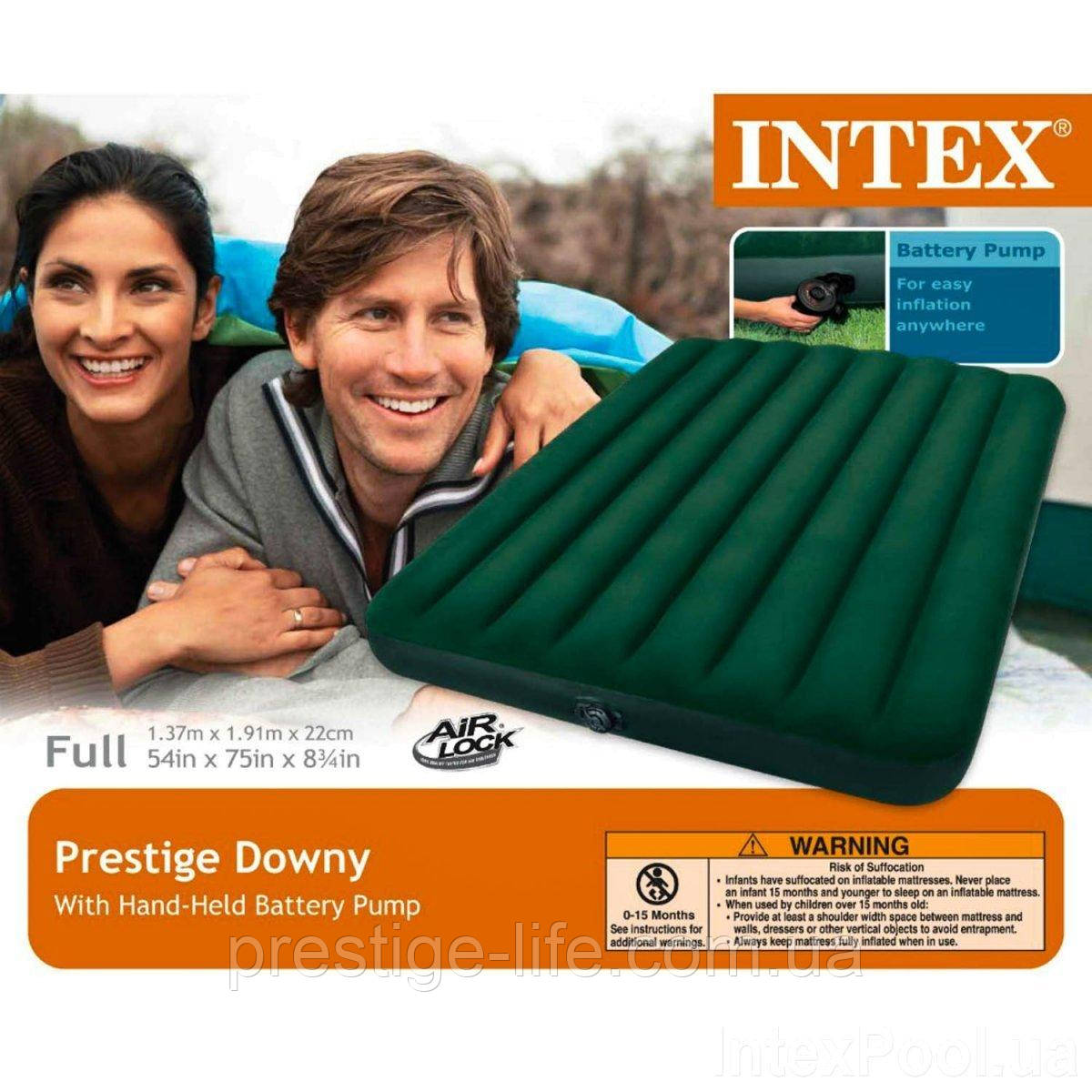 Надувний матрац Intex 66968 (191*137*22 см), з зовнішнім електронасосом