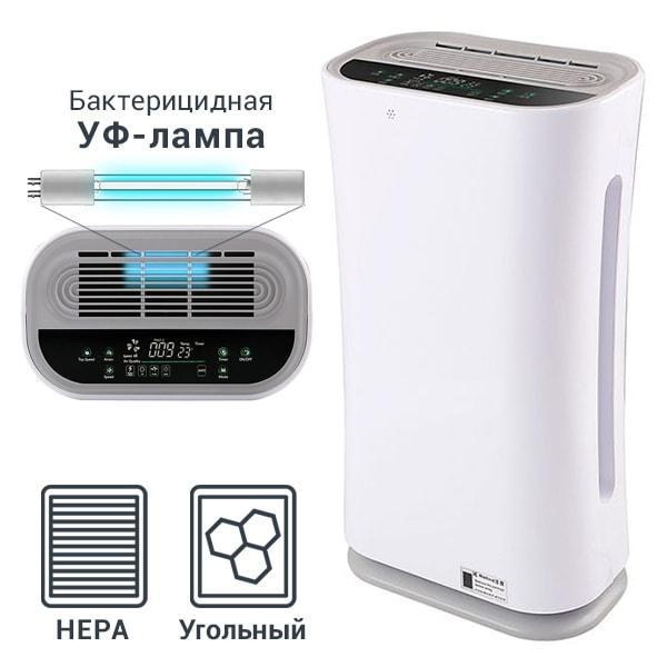 Очиститель воздуха с УФ-лампой Kiddy-101: HEPA и угольный фильтры, ионизатор, бактерицидная лампа