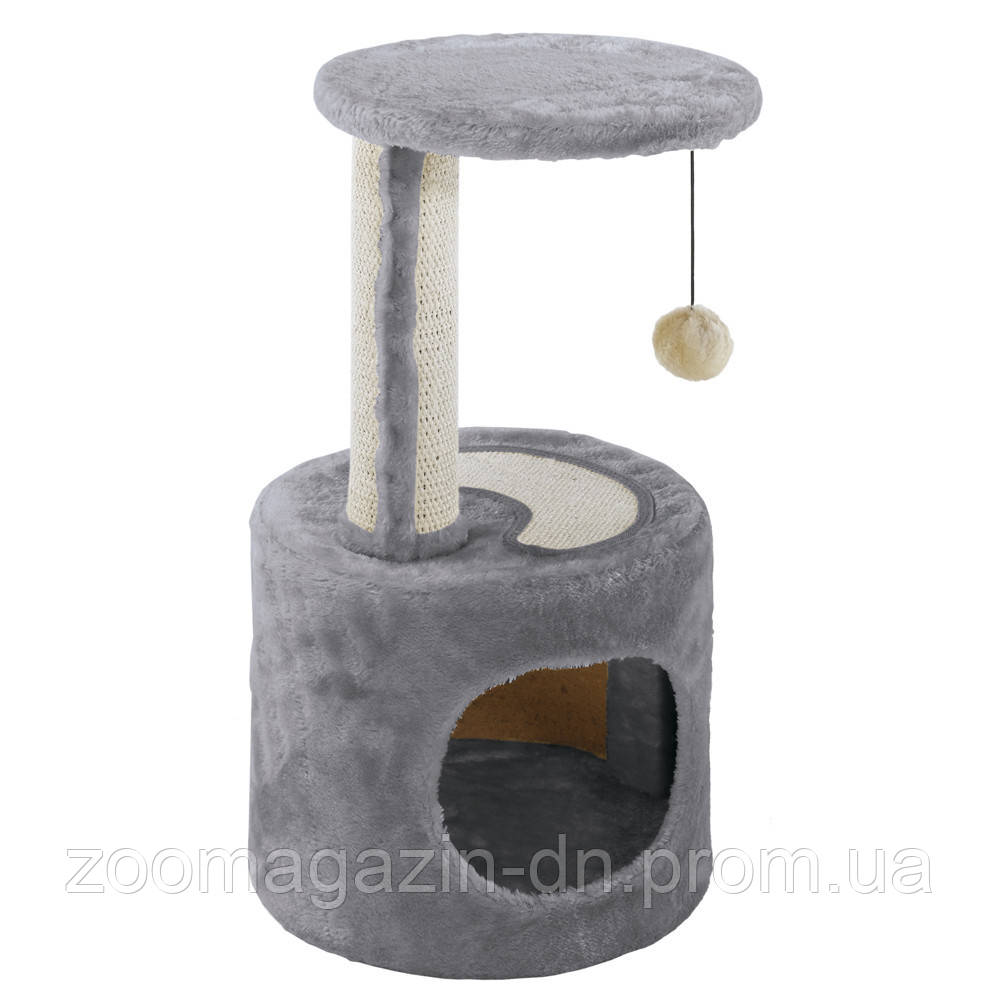 Ferplast PA 4010 FLAT POST Когтеточка для кошек с игрушкой и домиком  30 x 30 x h 57 cm