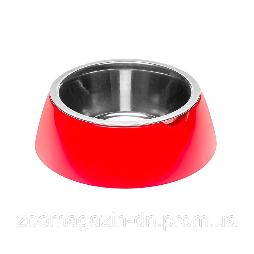 Ferplast  JOLIE L RED BOWL  Металлическая миска для собак и кошек в комплекте с пластиковой подставкой, ? 17,1