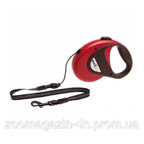 Karlie-Flamingo DogxToGo Cord ДОГ ТУ ГОУ КОРД М поводок рулетка для собак до 20кг, с ручкой и кнопкой блокировки, светоотражающий шнур, 8м , красный.