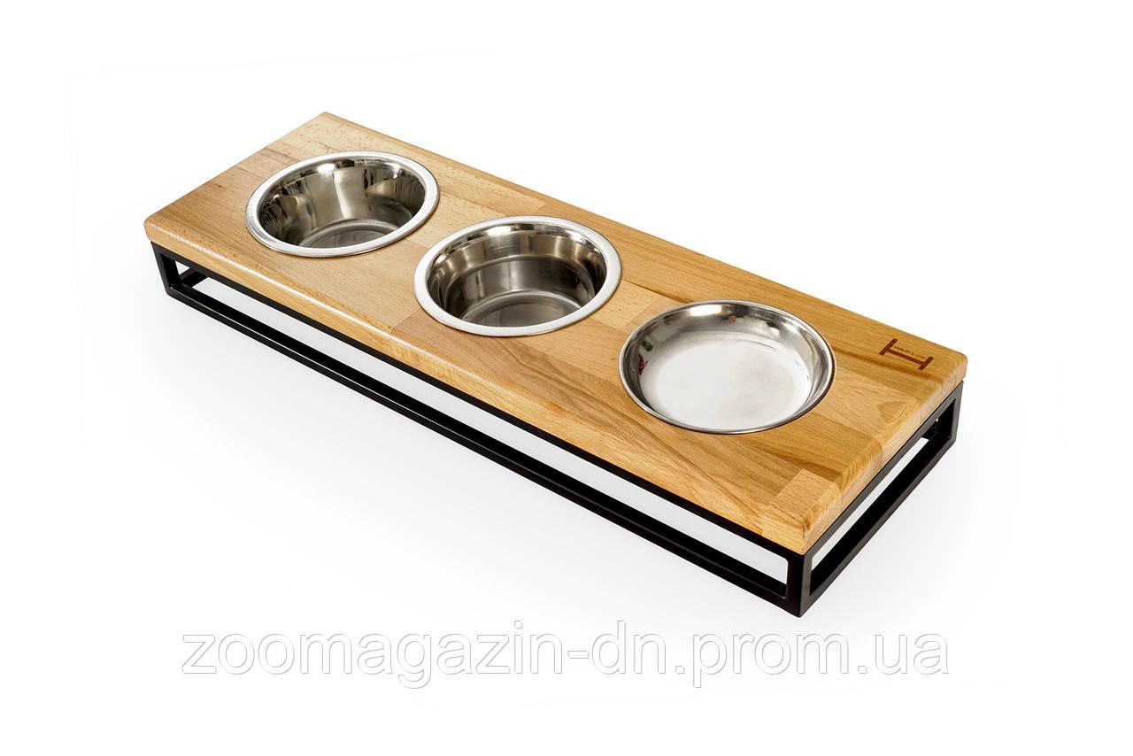Три миски на подставке Lunch Bar Natural wood + Black, M
