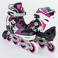 Роликовые коньки раздвижные розовые Z-809, фото 1