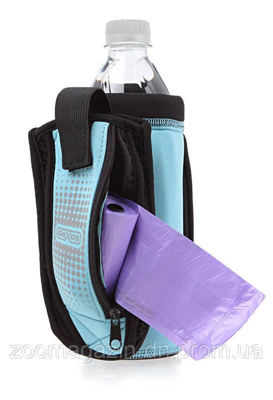 Dexas BottlePocket with Travel Cup сумка со складной миской для воды и аксессуаров, голубая.