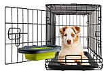 Dexas Collapsible Kennel Bowl Миска складная с креплением для клетки для собак и кошек БОЛЬШАЯ 600 мл(2,5 мерных стакана) фиолетовая., фото 2