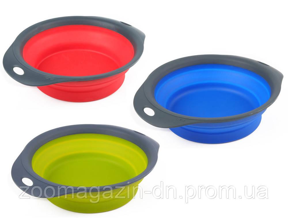 Dexas Collapsible Pet Bowl Инновационная миска для кормления малая  (3 мерных стакана) синяя  720мл