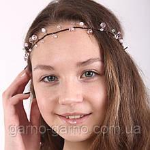 Венок хрустальная Тиара прозрачная  Диадема ветка ручная работа украшение для волос бело-розовый