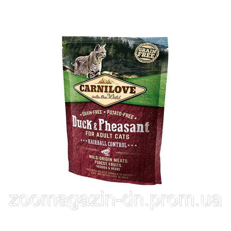 Carnilove Cat Duck & Pheasant Hairball Control с уткой и фазаном для выведения комков шерсти 400г