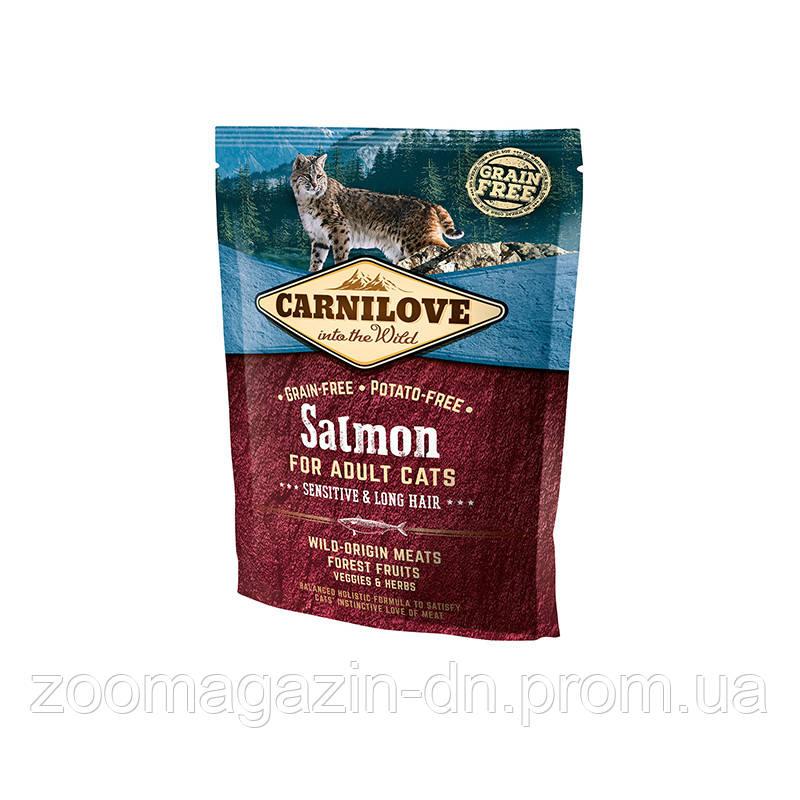 Carnilove Cat Salmon Sensitive & LongHair с лососем для взрослых кошек с чувствительным пищеварением и длинношерстных кошек 400г