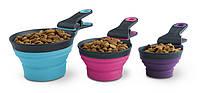 Dexas Collapsible KlipScoop Мерный стакан складной на клипсе для собак и кошек МАЛАЯ  (0,5 мерного стакана) фиолетовая  120мл