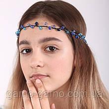 Венок хрустальная Тиара прозрачная  Диадема ветка ручная работа украшение для волос синий
