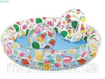 Детский надувной бассейн с мячом и кругом, набор, 122-25 см