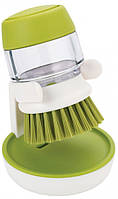 Щетка для мытья посуды с дозатором моющего средства Joseph Joseph Palm Scrub зеленый
