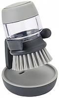 Щетка для мытья посуды с дозатором моющего средства Joseph Joseph Palm Scrub серый