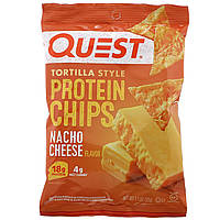 Quest Nutrition, Tortilla Style Protein Chips, Nacho Cheese, 12 Bags, 1.1 oz (32 g ) Each, официальный сайт