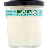 Mrs. Meyers Clean Day, Ароматизированная соевая свеча, с запахом базилика, 7,2 унции
