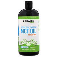 Zenwise Health, Каприловое (C8) + каприновое (C10) масло из среднецепочечных триглицеридов, 100%-ный кокос, без ароматизаторов, 946 мл, официальный