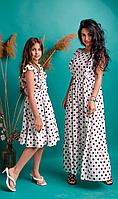 Белое платье в горошек из натуральной ткани лен в стиле Family Look, фото 1