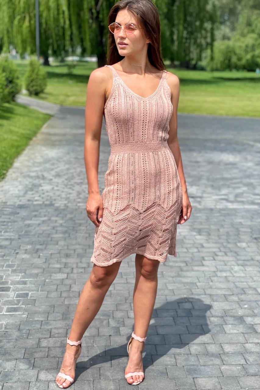 Модное летнее платье миди вязанное  Avrile - пудра цвет, L (есть размеры)