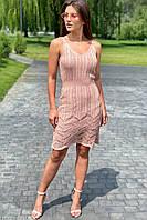Модное летнее платье миди вязанное  Avrile - пудра цвет, L (есть размеры), фото 1