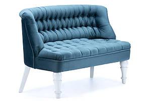 Диван велюровый для дома, кафе, ресторана или офиса SVL Прованс, голубой, ножки белые 0508-10