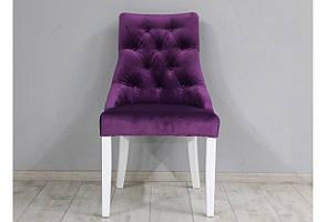 Стул велюровой для гостинной или столовой SVL Соренто, темно-лиловый, ножки белые 0984-02