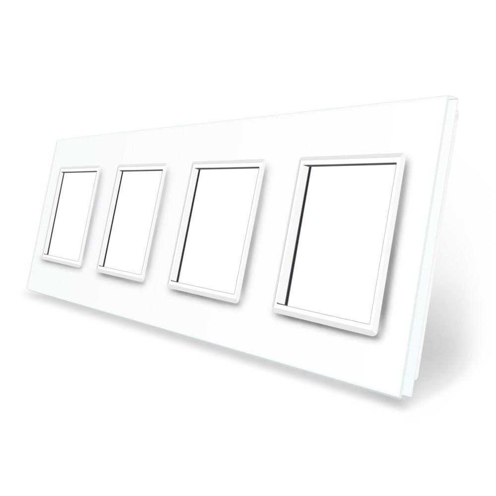 Рамка розетки Livolo 4 поста белый стекло (VL-C7-SR/SR/SR/SR-11)