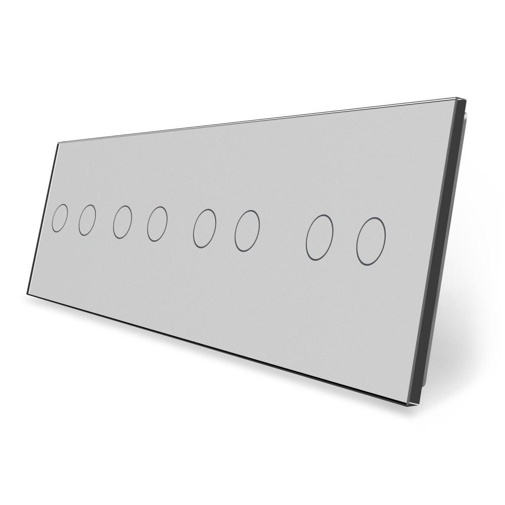 Сенсорная панель выключателя Livolo 8 каналов (2-2-2-2) серый стекло (VL-C7-C2/C2/C2/C2-15)