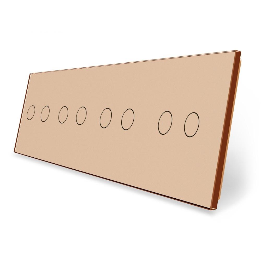 Сенсорная панель выключателя Livolo 8 каналов (2-2-2-2) золото стекло (VL-C7-C2/C2/C2/C2-13)