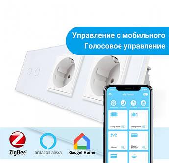 Сенсорный Wi-Fi выключатель Livolo ZigBee 2 канала с двумя розетками белый стекло (VL-C702Z/C7C2EU-11)