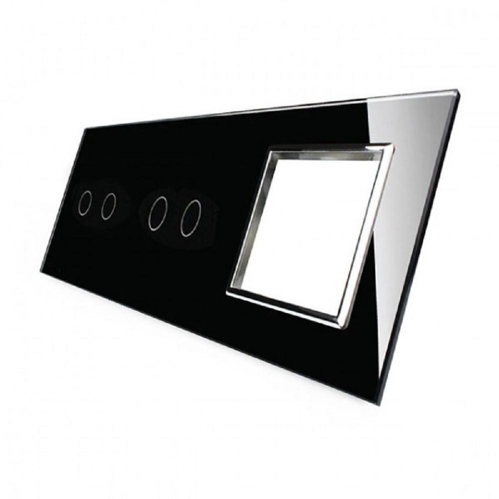 Сенсорная панель выключателя Livolo 4 канала и розетку (2-2-0) черный хром стекло (VL-C7-C2/C2/SR-12-chrome)