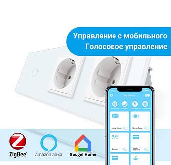 Сенсорный Wi-Fi выключатель Livolo ZigBee с двумя розетками белый стекло (VL-C701Z/C7C2EU-11)