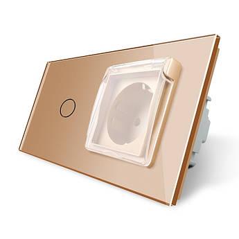 Сенсорный выключатель Розетка с крышкой IP44 Livolo золото стекло (VL-C701/C7C1EUWF-13)