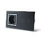 Сенсорный выключатель Livolo 2 канала с розеткой черный хром стекло (VL-C702/C7C1EU-12C), фото 2