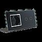 Сенсорный выключатель Livolo 2 канала с розеткой черный хром стекло (VL-C702/C7C1EU-12C), фото 3