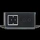 Сенсорный выключатель Livolo 2 канала с розеткой черный хром стекло (VL-C702/C7C1EU-12C), фото 4