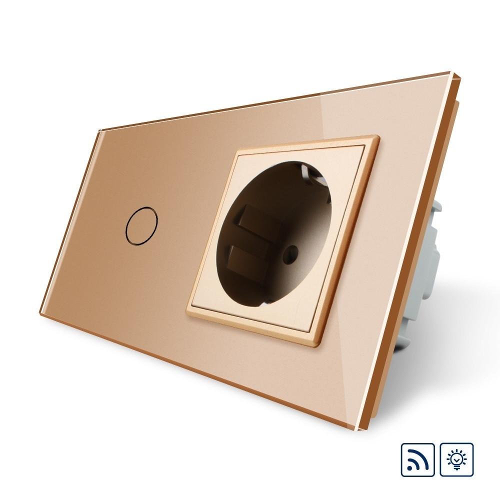 Сенсорный радиоуправляемый диммер Livolo с розеткой золото стекло (VL-C701DR/C7C1EU-13)