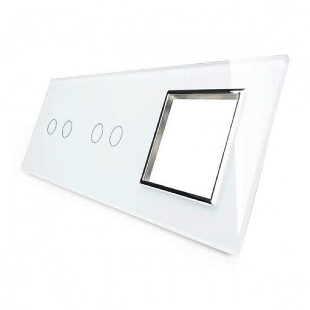 Сенсорная панель выключателя Livolo 4 канала и розетку (2-2-0) белый хром стекло (VL-C7-C2/C2/SR-11-chrome)