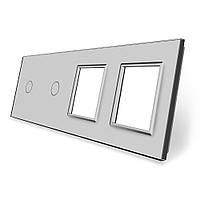 Сенсорная панель выключателя Livolo 2 канала и две розетки (1-1-0-0) серый стекло (VL-C7-C1/C1/SR/SR-15), фото 1