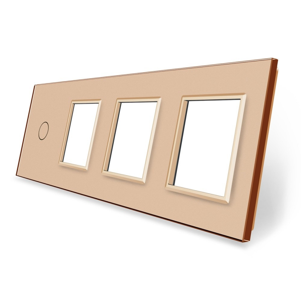 Сенсорная панель выключателя Livolo и трех розеток (1-0-0-0) золото стекло (VL-C7-C1/SR/SR/SR-13)