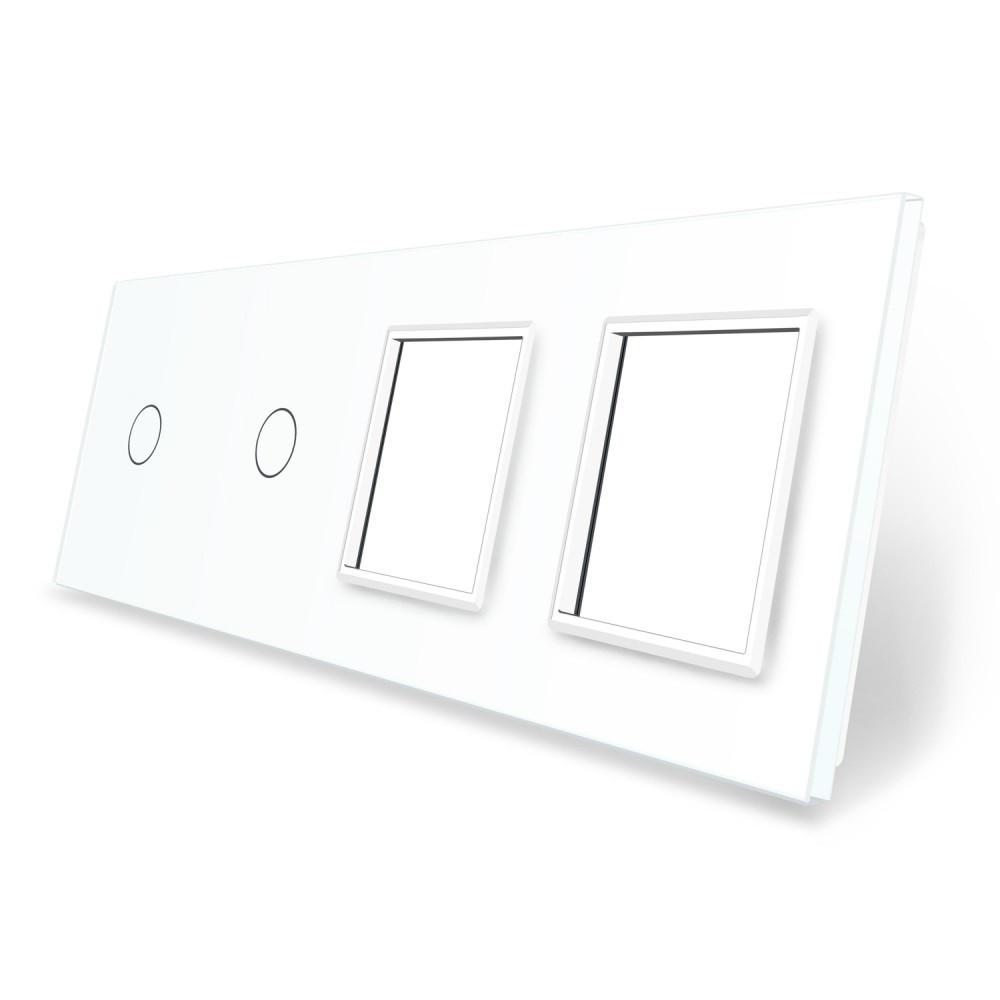 Сенсорная панель выключателя Livolo 2 канала и две розетки (1-1-0-0) белый стекло (VL-C7-C1/C1/SR/SR-11)