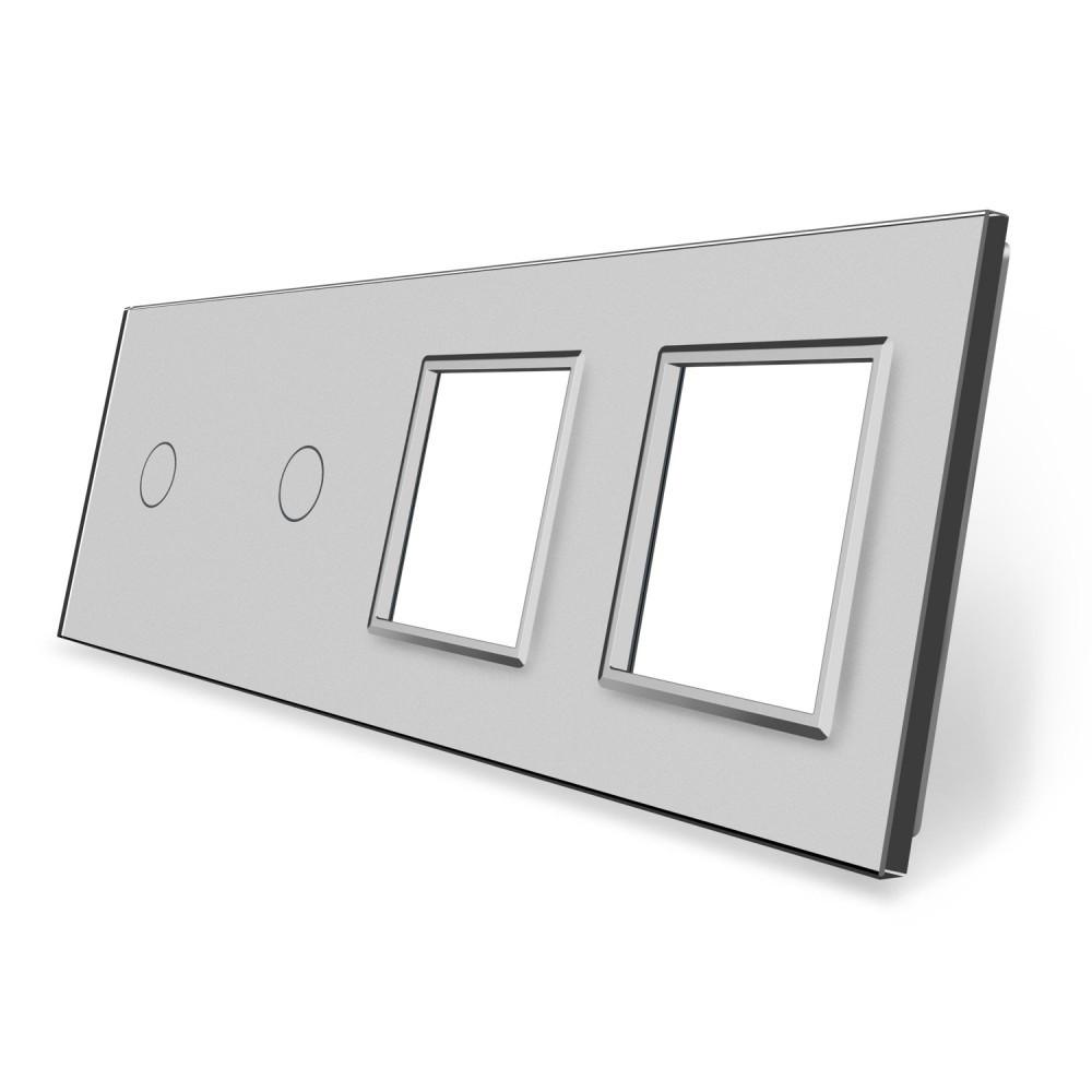 Сенсорная панель выключателя Livolo 2 канала и две розетки (1-1-0-0) серый стекло (VL-C7-C1/C1/SR/SR-15)