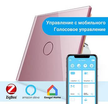 Сенсорный Wi-Fi выключатель Livolo ZigBee розовый (VL-C701Z-17)